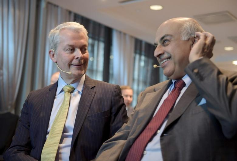 Matti Ruotsala (L), Chairman of the Board of the PKC Group, and Vivek Chaand Sehgal, Chairman of the Board of the Motherson Sumi Systems Ltd, discuss during a news conference in Helsinki, Finland, January 20, 2017. Lehtikuva/Antti Aimo-Koivisto/via REUTERS