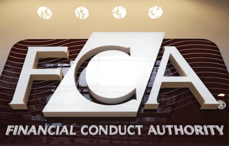 FILE PICTURE: The logo of the new Financial Conduct Authority (FCA) is seen at the agency's headquarters in the Canary Wharf business district of London April 1, 2013. REUTERS/Chris Helgren