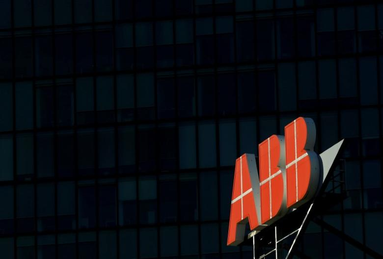 FILE PHOTO -  The logo of Swiss engineering group ABB is seen on a office building in Vienna, Austria, September 29, 2016.    REUTERS/Leonhard Foeger/File Photo