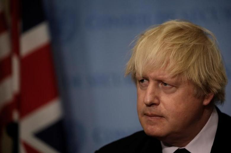 British Foreign Secretary Boris Johnson speaks to reporters after chairing a United Nations Security Council meeting at U.N. headquarters in New York, U.S., March 23, 2017. REUTERS/Mike Segar