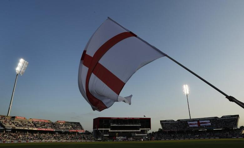 FILE PHOTO - Britain Cricket - England v Pakistan - NatWest International T20 - Emirates Old Trafford - 7/9/16The England flag is waved before the start of the matchAction Images via Reuters / Lee Smith