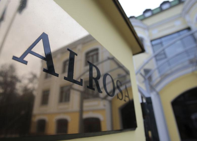 The Moscow office of Russian diamond miner Alrosa is reflected in the company's name plate in central Moscow October 2, 2013. REUTERS/Tatyana Makeyeva