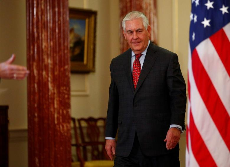 U.S. Secretary of State Rex Tillerson is seen at the Department of State in Washington, U.S. March 28, 2017. REUTERS/Eric Thayer