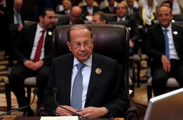 Lebanon's President Michel Aoun attends the 28th Ordinary Summit of the Arab League at the Dead Sea, Jordan March 29, 2017. REUTERS/Mohammad Hamed