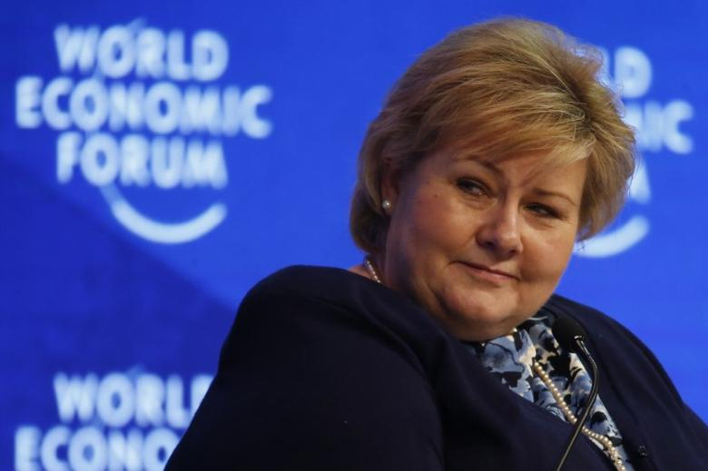 Norwegian Prime Minister Erna Solberg, attends the annual meeting of the World Economic Forum (WEF) in Davos, Switzerland, January 18, 2017. REUTERS/Ruben Sprich/Files