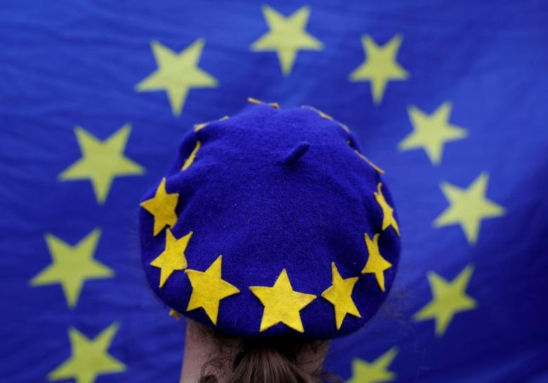 A protester wearing a Europen Union flag themed beret takes part in an anti-Brexit demonstration after Britain's Prime Minister Theresa May triggered the process by which the United Kingdom will leave the Euopean Union, in Birmingham, Britain March 29, 2017. REUTERS/Darren Staples