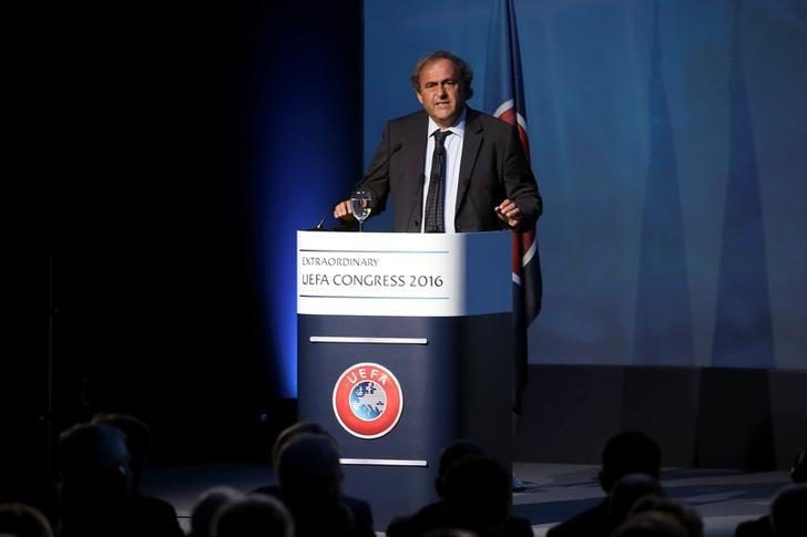 FILE PHOTO: Former UEFA President Michel Platini speaks before the election of the new UEFA President in Athens, Greece September 14, 2016. REUTERS/Alkis Konstantinidis