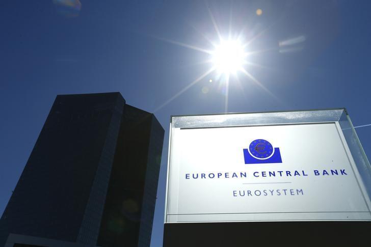 2016年4月21日,德国法兰克福,欧洲央行总部外的标志。REUTERS/Ralph Orlowski