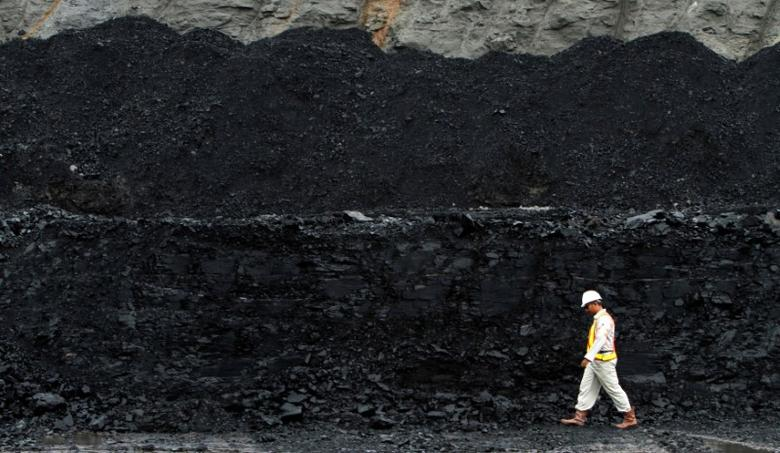 FILE PHOTO: A worker walks near a coal hill which is ready to be mined at the Berau district in Indonesia's East Kalimantan province August 15, 2010.  REUTERS/Yusuf Ahmad/File Photo