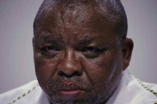 FILE PHOTO: African National Congress (ANC) Secretary General Gwede Mantashe reacts during a media briefing in Johannesburg, South Africa, April 1,2016. REUTERS/Siphiwe Sibeko/File Photo