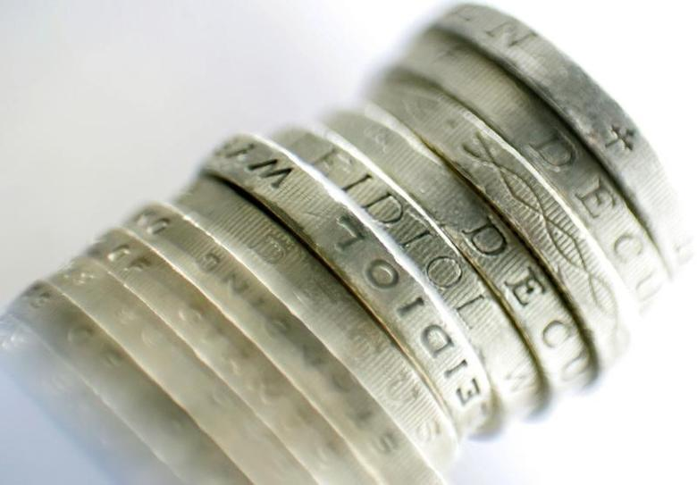 A pile of British sterling coins is displayed in London January 16, 2007. REUTERS/Toby Melville (BRITAIN)