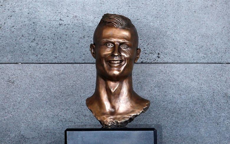 A bust of Cristiano Ronaldo is seen before the ceremony to rename Funchal Airport as Cristiano Ronaldo Airport in Funchal, Portugal. REUTERS/Rafael Marchante