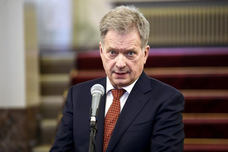 Finland's President Sauli Niinisto delivers remarks on the International Arctic Forum which ended in Arkhangelsk yesterday, during a media conference at the Presidential Palace in Helsinki, Finland March 31, 2017.  LEHTIKUVA/Antti Aimo-Koivisto via REUTERS
