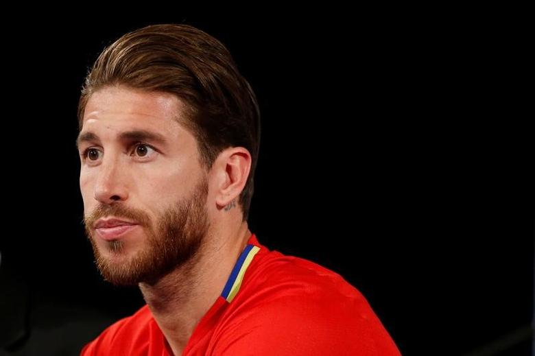 Football Soccer - Spain national soccer team news conference - Stade de France, Saint-Denis near Paris, France - 27/03/2017 - Spain's Sergio Ramos during a news conference. REUTERS/Gonzalo Fuentes