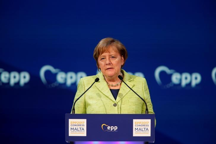 German Chancellor Angela Merkel takes part in a European People Party (EPP) summit in St Julian's, Malta, March 30, 2017. REUTERS/Darrin Zammit Lupi