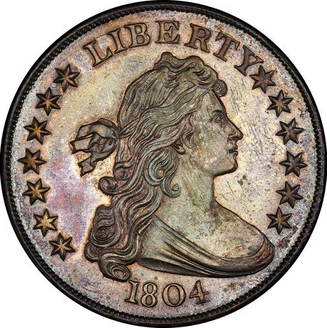 A 1804 Draped Bust Silver Dollar coin which sold at auction for $3.29 million. Stack'sBowers Galleries/Handout via REUTERS