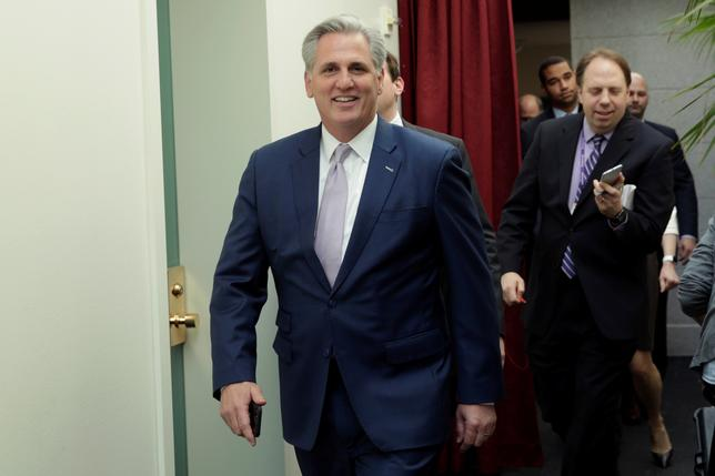 U.S. House Majority Leader Kevin McCarthy (R-CA) arrives at the House Republican meeting on Capitol Hill in Washington, U.S. March 24, 2017. REUTERS/Yuri Gripas
