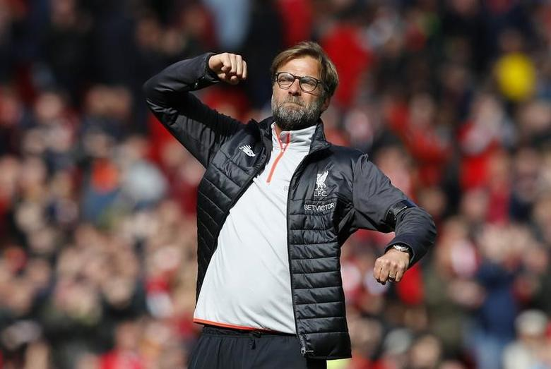 Britain Soccer Football - Liverpool v Everton - Premier League - Anfield - 1/4/17 Liverpool manager Juergen Klopp celebrates after the final whistle Reuters / Phil Noble Livepic