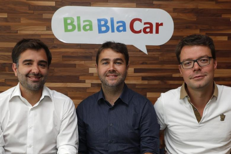 Frederic Mazzella (C), Founder and Chief Executive Officer of French ride-sharing start-up BlaBlaCar, Nicolas Brusson (L), Co-Founder and COO of BlaBlaCar, and Francis Nappez (R), Co-Founder and CTO of BlaBlaCar, poses at the company's headquarters in Paris, France, September 28, 2016. REUTERS/Philippe Wojazer/Files