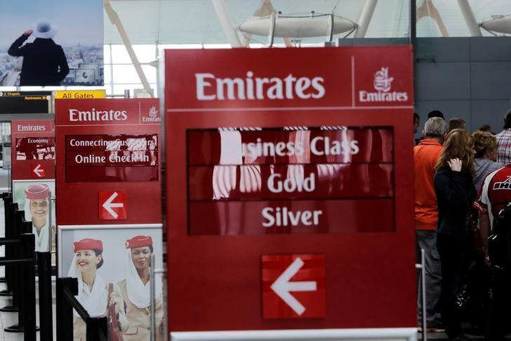 Signs point to the Emirates Airlines check in desks at JFK International Airport in New York, U.S., March 21, 2017.  REUTERS/Lucas Jackson