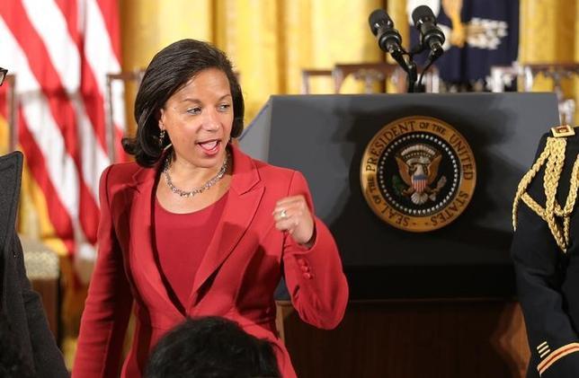 4月5日、トランプ米大統領は、証拠は示さず、オバマ前政権時代に国家安全保障担当の大統領補佐官を務めたスーザン・ライス氏(写真)が犯罪を犯したとの考えを示した。ホワイトハウスで昨年11月撮影(2017年 ロイター/Carlos Barria)
