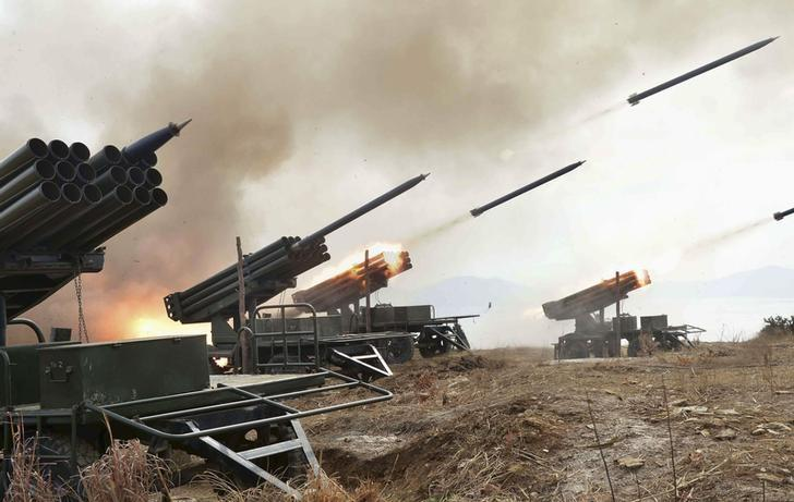 A view of artillery fire and landing exercises guided by North Korean leader Kim Jong Un (not seen) in this undated photo released by North Korea's Korean Central News Agency (KCNA) in Pyongyang February 21, 2015. REUTERS/KCNA/FIles