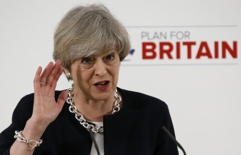 Britain's Prime Minister, Theresa May, delivers a speech to launch the Conservative Party's local elections campaign, in Calverton Village Hall, Calverton, Britain April 6, 2017.      REUTERS/Andrew Yates