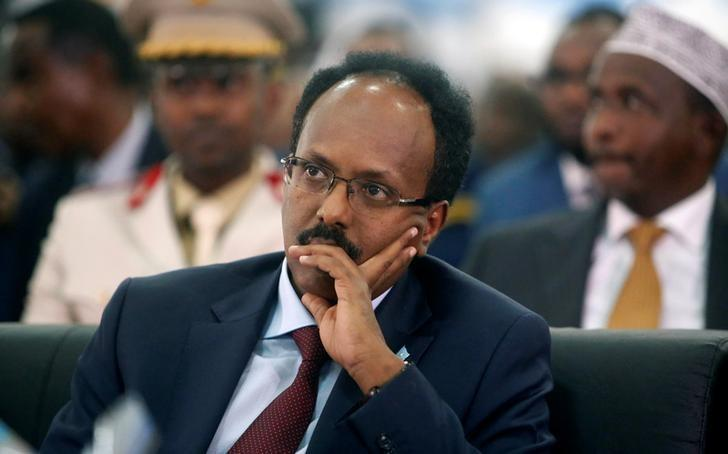 Somalia's newly elected President Mohamed Abdullahi Farmaajo attends his inauguration ceremony in Somalia's capital Mogadishu, February 22, 2017. REUTERS/Feisal Omar/Files