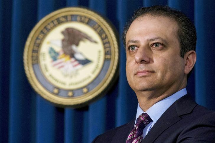 FILE PHOTO: Former Manhattan U.S. Attorney Preet Bharara attends a news conference at his office in New York October 29, 2015.   REUTERS/Brendan McDermid/File Photo