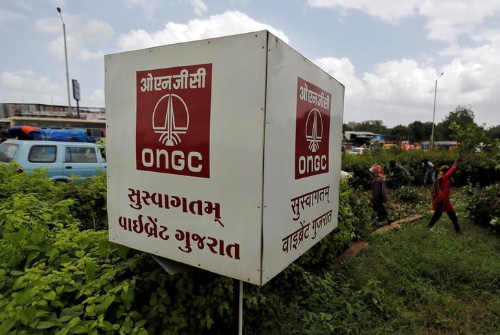 The logo of Oil and Natural Gas Corp's (ONGC) is pictured along a roadside in Ahmedabad, India, September 6, 2016. REUTERS/Amit Dave/Files