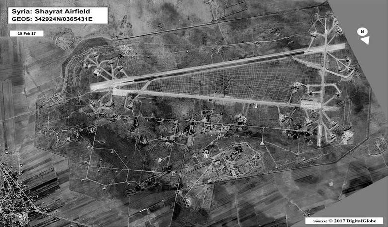 Shayrat Airfield in Homs, Syria is seen in this DigitalGlobe satellite image on February 18, 2017 and released by the U.S. Defense Department on April 6, 2017 after announcing U.S. forces conducted a cruise missile strike against the Syrian Air Force airfield.   DigitalGlobe/Courtesy U.S. Department of Defense/Handout via REUTERS