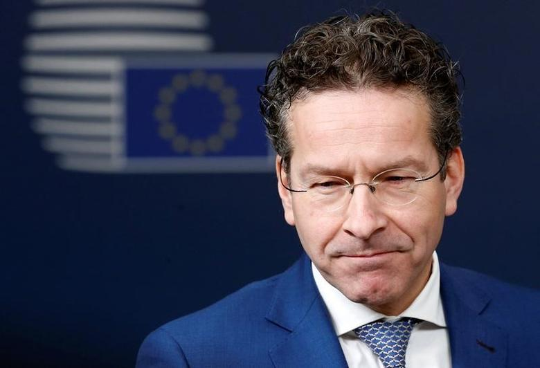 Dutch Finance Minister and Eurogroup President Jeroen Dijsselbloem talks to the media as he arrives at European Union finance ministers meeting in Brussels, Belgium February 21, 2017. REUTERS/Francois Lenoir