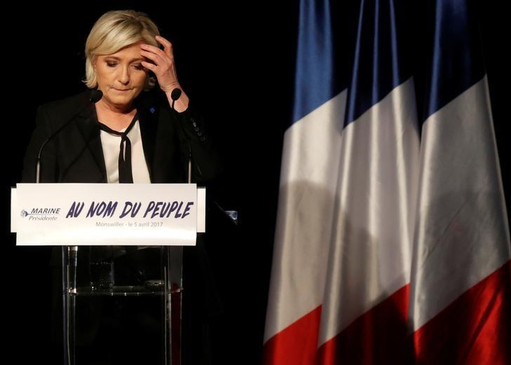 Marine Le Pen, French National Front (FN) political party leader and candidate for French 2017 presidential election, attends a political rally in Monswiller, near Strasbourg, France April 5, 2017. REUTERS/Christian Hartmann