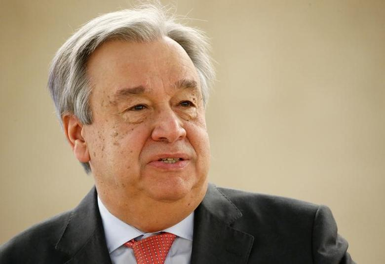 U.N. Secretary general Antonio Guterres attends the 34th session of the Human Rights Council at the European headquarters of the United Nations in Geneva, Switzerland, February 27, 2017. REUTERS/Denis Balibouse - RTX32EKJ