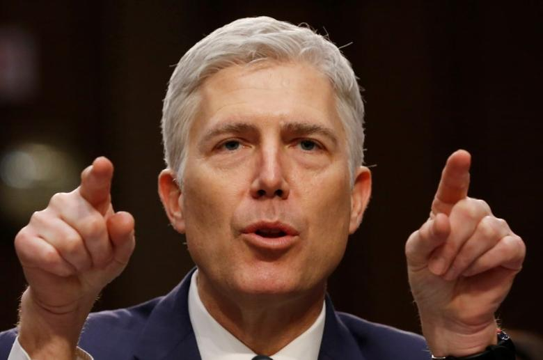 U.S. Supreme Court nominee judge Neil Gorsuch testifies during a third day of his Senate Judiciary Committee confirmation hearing on Capitol Hill in Washington, U.S., March 22, 2017. REUTERS/Jonathan Ernst/Files
