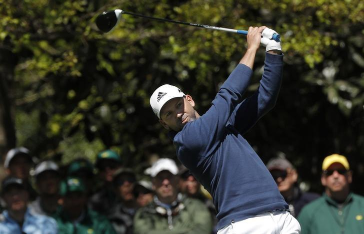 Sergio Garcia of Spain hits off the seventh tee in second round play during the 2017 Masters golf tournament at Augusta National Golf Club in Augusta, Georgia, U.S., April 7, 2017. REUTERS/Mike Segar