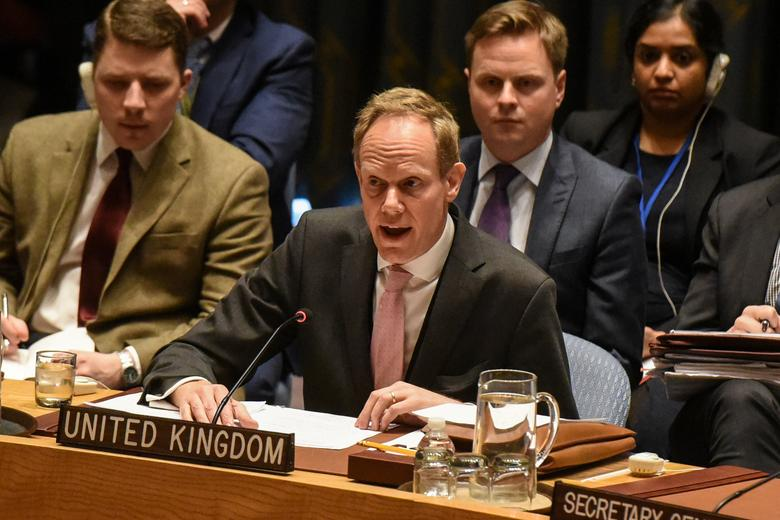 Britain's Ambassador to the United Nations Matthew Rycroft delivers remarks during the Security Council meeting on the situation in Syria at the United Nations Headquarters, in New York, U.S. April 7, 2017. REUTERS/Stephanie Keith