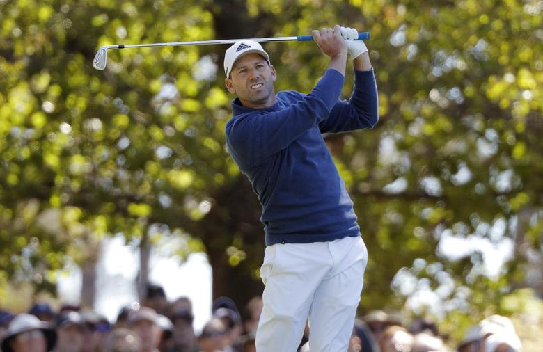 Sergio Garcia of Spain hits off the fourth tee in second round play during the 2017 Masters golf tournament at Augusta National Golf Club in Augusta, Georgia, U.S., April 7, 2017. REUTERS/Jonathan Ernst