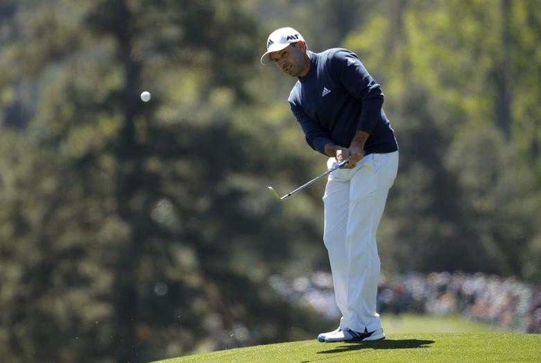 Sergio Garcia of Spain chips to the eighth green in second round play during the 2017 Masters golf tournament at Augusta National Golf Club in Augusta, Georgia, U.S., April 7, 2017. REUTERS/Brian Snyder