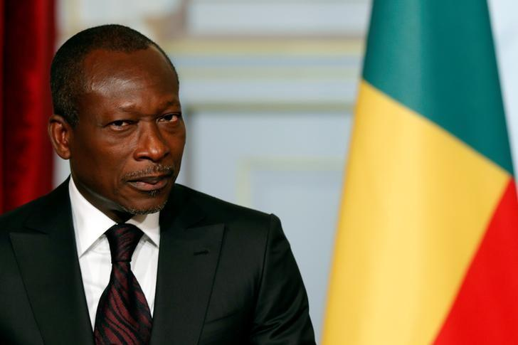 Benin's President Patrice Talon attends a joint declaration with French President at the Elysee Palace in Paris, France, April 26, 2016. REUTERS/Philippe Wojazer