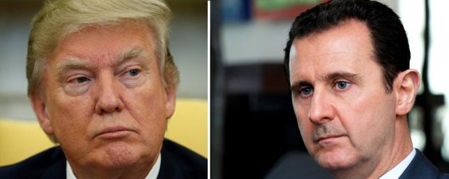 4月9日、米軍によるシリア空軍基地へのミサイル攻撃を巡るトランプ政権高官の発言に、対シリア政策の展望のばらつきが見られる。シリアのアサド大統領の退陣が米政権の目標なのかどうか、疑問が浮上している。写真左(トランプ米大統領)はワシントンで3日撮影、写真右('アサド・シリア大統領)は2015年1月シリア国営通信が提供(2017年 ロイター)