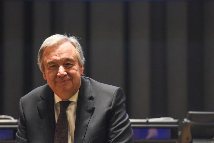 United Nations Secretary General Antonio Guterres attends a ceremony after selecting Malala Yousafzai to be a United Nations messenger of peace in New York, NY, April 10, 2017. REUTERS/Stephanie Keith
