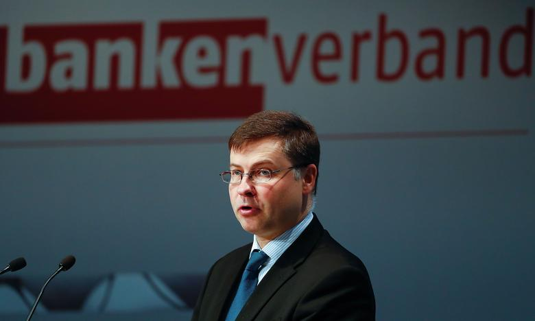 FILE PHOTO: European Commission Vice-President Valdis Dombrovskis attends the German Banking Congress in Berlin, Germany, April 6, 2017. REUTERS/Fabrizio Bensch