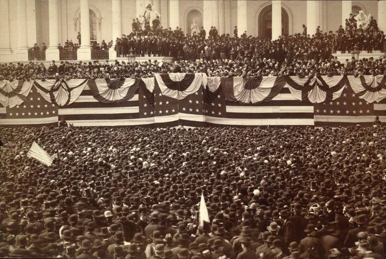 Grover Cleveland delivers his inaugural address on the east portico of the Capitol in Washington, D.C., U.S. in March 1885.    Library of Congress/Handout
