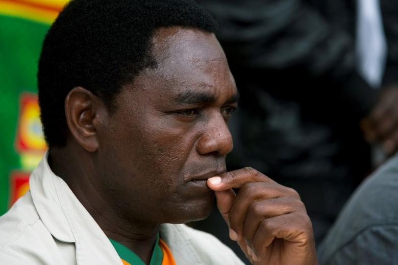 FILE PHOTO: Hakainde Hichilema looks on during a rally in Lusaka January 18, 2015.  REUTERS/Rogan Ward/File Photo