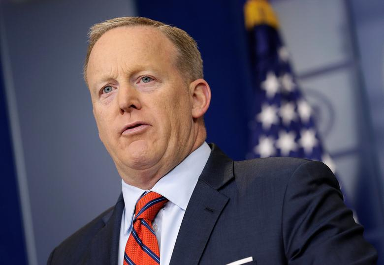 White House Press Secretary Sean Spicer speaks during a press briefing at the White House in Washington, U.S., April 11, 2017.      REUTERS/Joshua Roberts