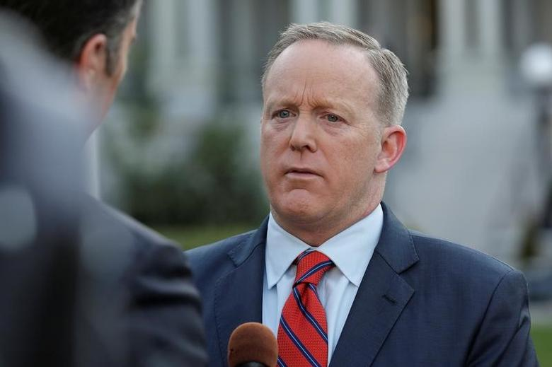 White House Press Secretary Sean Spicer apologizes during an interview for saying Adolf Hitler did not use chemical weapons, at the White House in Washington, U.S., April 11, 2017.      REUTERS/Joshua Roberts