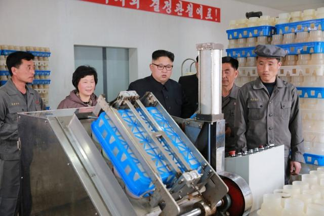 North Korean Leader Kim Jong Un gives field guidance to the Pyongyang mushroom factory in this undated photo released by North Korea's Korean Central News Agency (KCNA) in Pyongyang on April 8, 2017. KCNA/via REUTERS