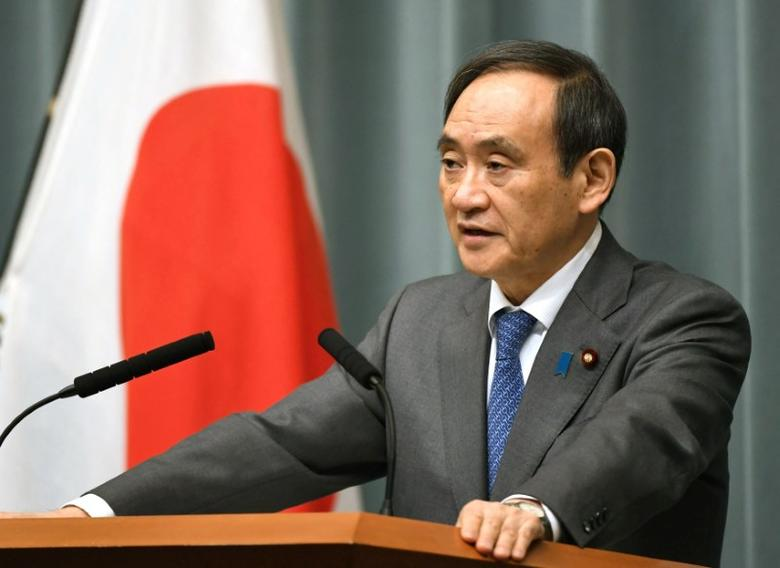 Japan's Chief Cabinet Secretary Yoshihide Suga speaks to media during a news conference after the reports on the launch of a North Korean missile, at the prime minister's office in Tokyo, Japan, in this photo taken by Kyodo February 12, 2017.  Mandatory credit Kyodo/via REUTERS