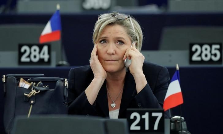 FILE PHOTO: Marine Le Pen, French National Front (FN) political party leader and Member of the European Parliament, attends the election of the new President of the European Parliament in Strasbourg, France, January 17, 2017. REUTERS/Christian Hartmann/File Photo